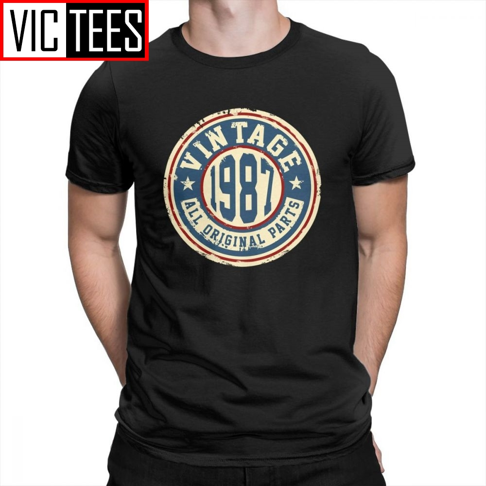 Vintage 1987 All Original Parts Men's Tees Short Sleeve T Shirt Comfortable Pure Cotton Summer Style Male T-Shirts