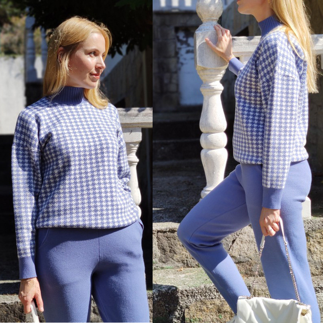 GIGOGOU Houndstooth Knit Women Sweater Costume Thick Turtleneck Winter Oversized Casual Loose Pullover Sweaters 2 Pieces Sets 5