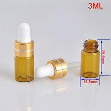 3ml sub-garrafas de vidro reutilizável portátil garrafa de cuidados com a pele ferramentas aromaterapia bálsamo labial viagem vazio garrafas recarregáveis ferramenta tslm1