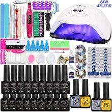 De uñas para uñas de manicura de Gel UV Kit de manicura 18/10/ 8 colores Gel pulido y capa superior para Base Kit de uñas de manicura