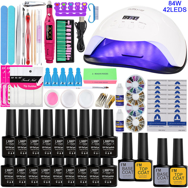 Nail Set Voor Manicure Nagel Uv Gel Manicure Kit 18/10/ 8 Kleuren Gel Polish & Base top Coat Nail Kit Manicure Set