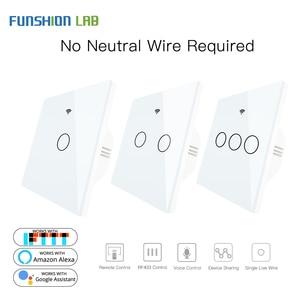 Image 1 - สีขาว WIFI สมาร์ทสวิตช์ผนังไม่มี Neutral ไม่ต้องใช้สายไร้สาย Smart Life Tuya รีโมทคอนโทรล SINGLE Fire ทำงานร่วมกับ Alexa RF433