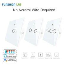 White WiFi Smart Wall Switch No Neutral Wire Needed Wireless Smart Life Tuya Remote Control Single Fire Work With Alexa RF433