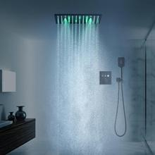 Shower-Head-Set Thermostatic-Valve Plating Black Stainless-Steel-304 LED with Button