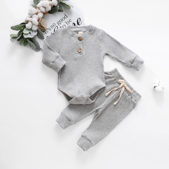 Baby Solid Clothes Long Sleeve Romper and Pants Set 3