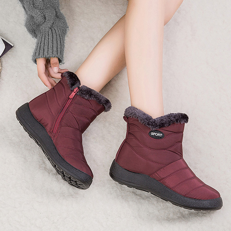2019 Winter Women Shoes Waterproof Ankle Boots Plush Warm Shoes Woman Trainers Shoes Rubber Boots For Women Chaussure Femme 26