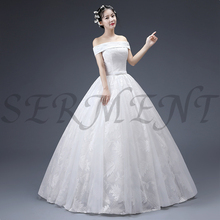 цена на Lace Wedding Dress Floral Print Off The Shoulder Empire Ball Gown Back Lace Up Lacework Design Free Custom Made Plus Size