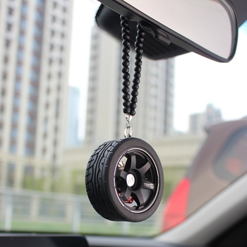Auto Decoration Pendant For Car Wheel Keychain Car Rearview Mirror Hanging Ornament Keyring Pendant For Car Accessories Interior