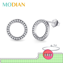 2020 High Quality Fashion 925 Sterling Silver Earrings Luxury Crystal Zircon Stud Earrings For Women Bridal wedding Jewelry cheap Modian 925 Sterling Fine Push-back E391 None TRENDY ROUND Party