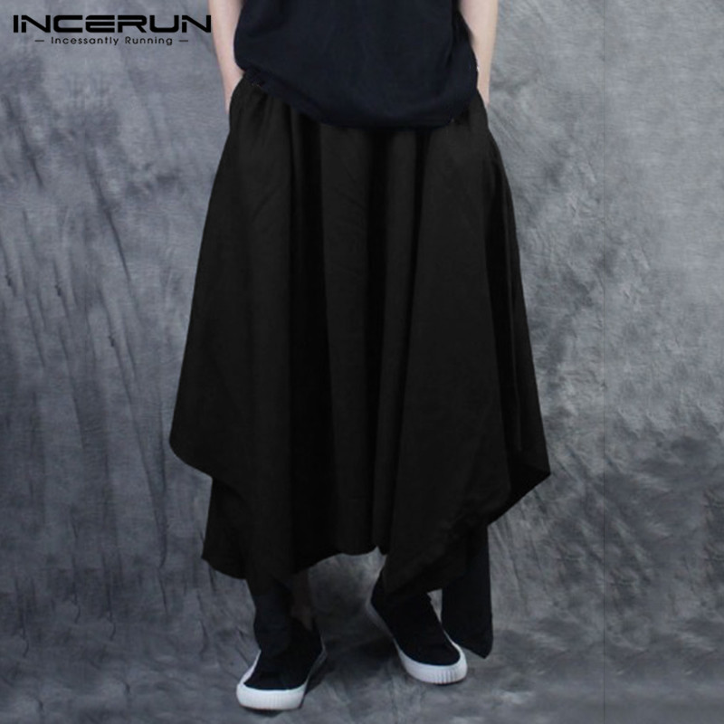 INCERUN Fashion Men Harem Pants 2020 Elastic Waist Solid Color Joggers Loose Irregular Skirt Trousers Streetwear Dance Pants Men