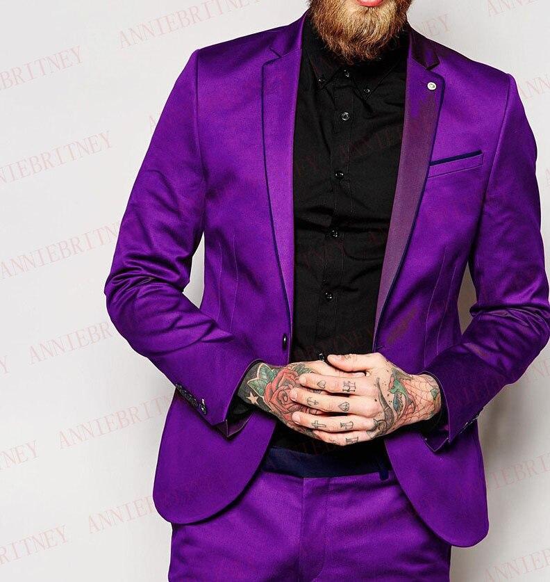 ANNIEBRITNEY Latest Coat Pant Designs Purple Satin Italian Men Suit Prom Tuxedos Slim Fit Groom Suits Custom Shiny Blazer Pants