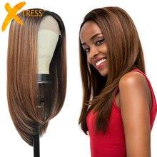 X TRESS الاصطناعية الدانتيل الجبهة الباروكات للنساء السود أومبير براون اللون طويل لينة مستقيم شعر مستعار الحرة جزء غلويليس مقاومة للحرارة شعر مستعار