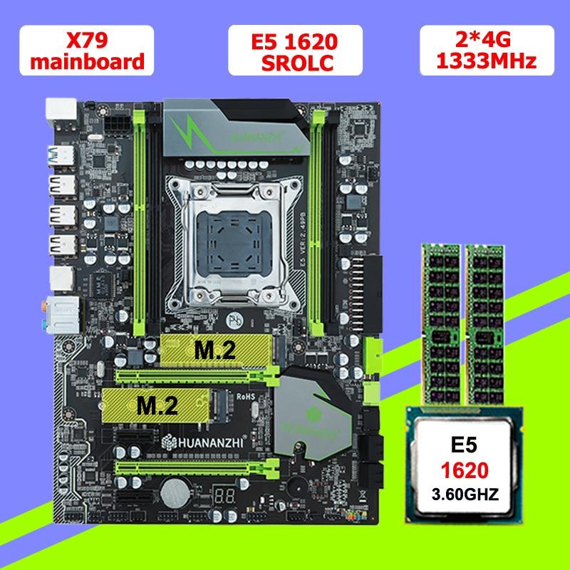 HUANAN V2.49 X79 motherboard CPU RAM combos Xeon E5 1620 SROLC CPU (2*4G)8G DDR3 RECC memorry all good tested 2 years warranty 1