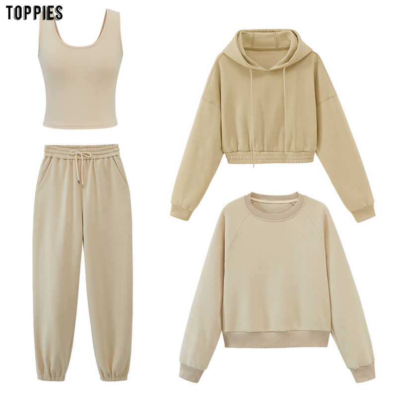 Toppies damen trainingsanzüge mit kapuze sweatshirts 2020 herbst winter fleece oversize hoodies einfarbig jacken
