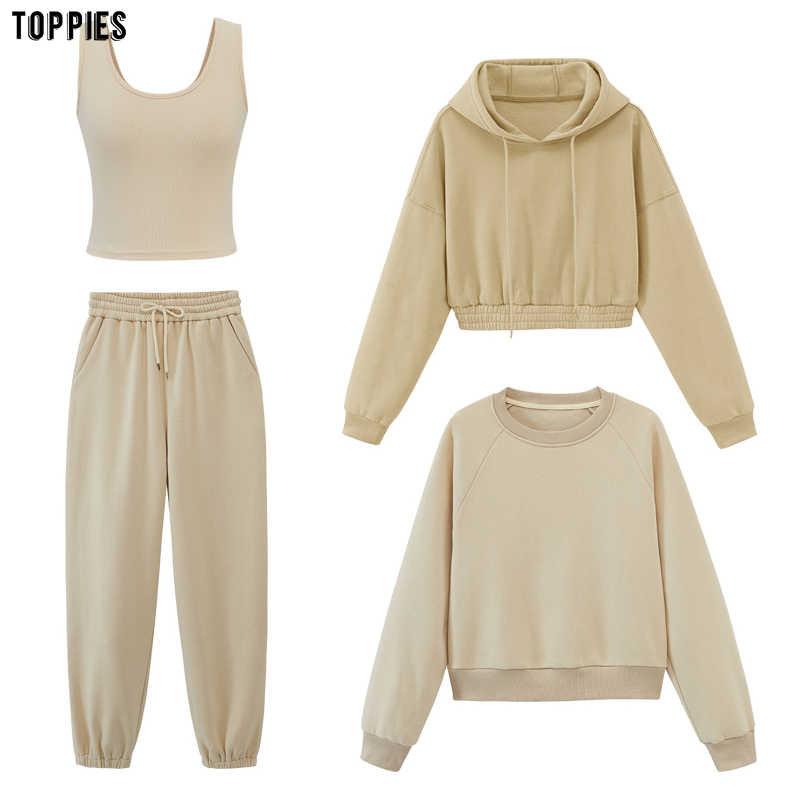 Toppies womens tracksuits 후드 티 스웨터 2020 가을 겨울 플리스 오버 사이즈 후드 솔리드 컬러 자켓