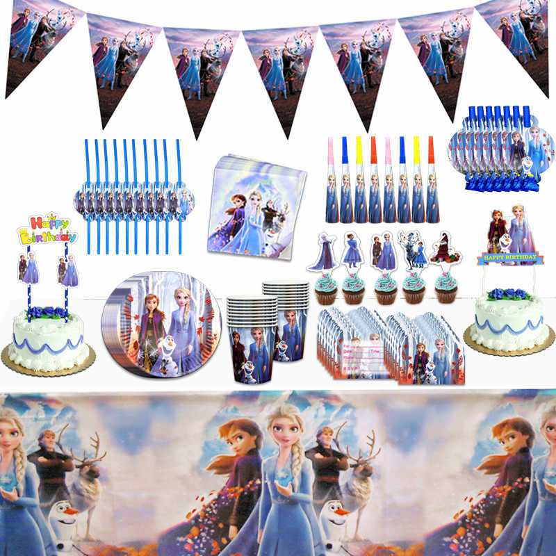 Disney Frozen Princess Snow Queen Thema Verjaardagsfeestje Decoraties Kids Meisje Feestartikelen Decor Baby Verjaardag Servies Set