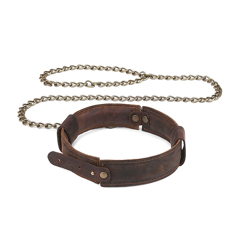 Genuine Leather Retro <font><b>collar</b></font> lock with chain Bondage hand lead <font><b>BDSM</b></font> Restraint Exotic <font><b>slave</b></font> roleplay sex toy male female couple image