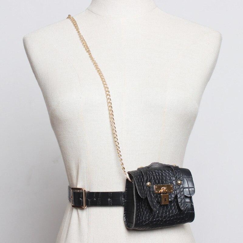 2020 Spring New Design Chain Bags For Women Vintage Black Stylish Trendy Belt Bag Female Messenger Bag Casual Waist Bag ZK802