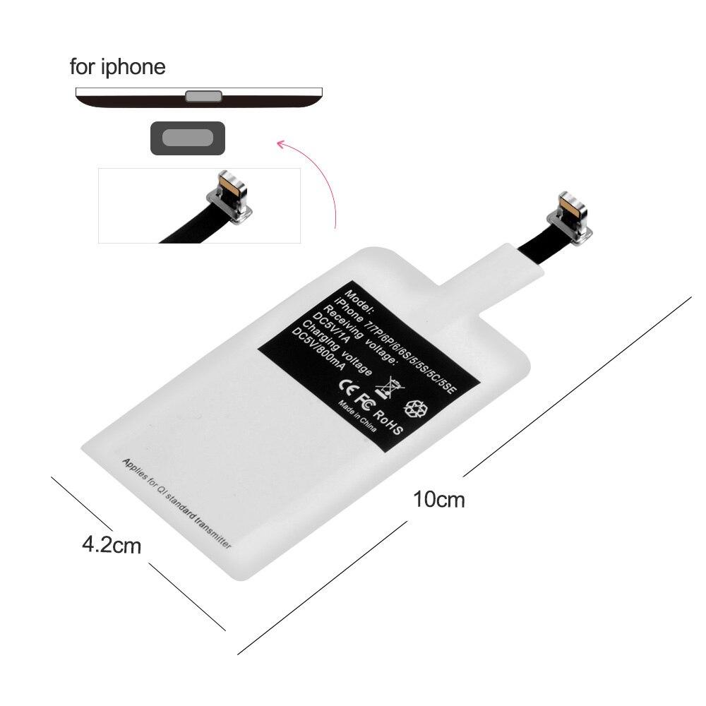 Беспроводной приемник зарядного устройства для iPhone 7 6 6s Plus 5s 5 SE Qi зарядный адаптер Micro usb type C для samsung Galaxy J7/J3/J6/S5 A50 - Цвет: For iPhone