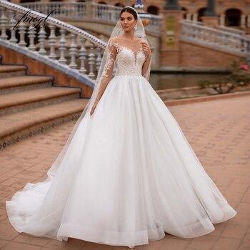 Fmogl Vestidos De Noiva Long Sleeve Lace Princess Wedding Dress 2021 Sexy Illusion Applique Beaded Court Train A Line Bride Gown 1
