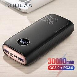 KUULAA כוח בנק 30000 mAh USB סוג C פ