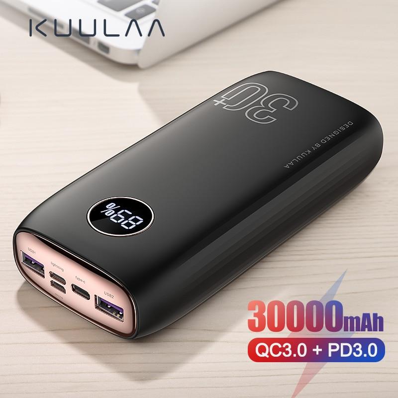 KUULAA Power Bank 30000mAh USB Type C PD Fast Charging + Quick Charge 3.0 PowerBank 30000 mAh External Battery For Xiaomi iPhone