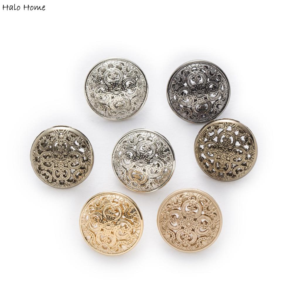 Halo Home 5pcs Hollow Carved Metal Buttons Sewing Scrapbook For Jacket Blazer Sweaters Gift Crafts Handwork Clothing 11.5-25mm