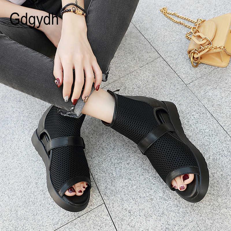 Gdgydh moda örgü ayak bileği açık ayak bot kadınlar Hollow Out avrupa ayakkabı markaları kadın kısa çizmeler fermuarlı bahar Vintage