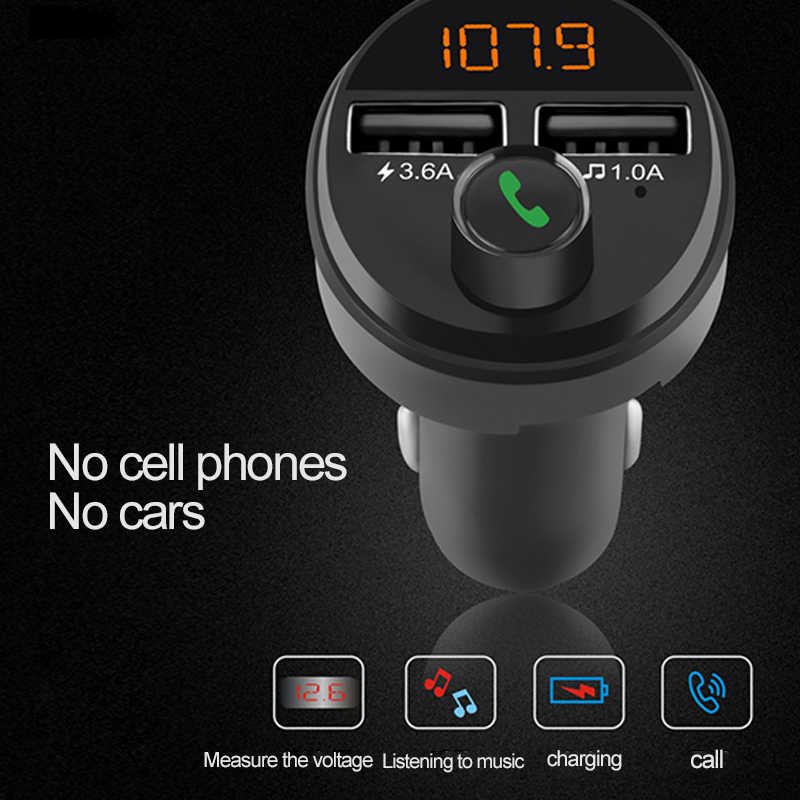 Onever Auto MP3 Speler Fm-zender Smart Bluetooth 5.0 Handsfree Ontvanger Auto Dual Usb Fast Charger Ondersteuning Tf-kaart U schijf