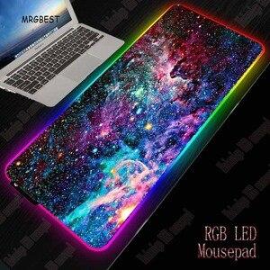 MRGBEST космический RGB игровой коврик для мыши, большой коврик для компьютера, коврик для мыши, геймер, XXL, коврики для мыши, светодиодный коврик ...