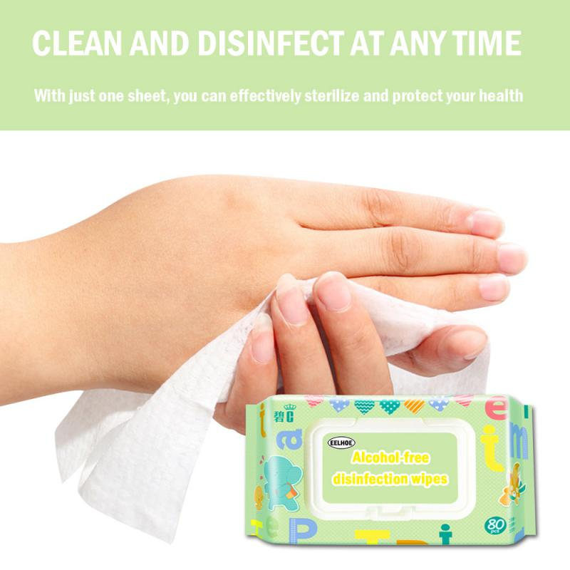 80pcs Alcohol-free Disinfection Wipe Skin Antibacterial Cleaning Tool Portable Disinfection Wipes Home Cleaning Paper Towel PTCS