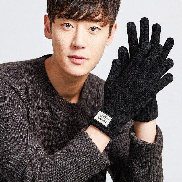 Зимние вязаные перчатки мужские для сенсорного экрана 3
