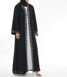Opened Abaya Latest New Elegant Long Sleeve Dress Fashion Women Abaya Muslim Dress Black Print Sleeve Kimono Long Dubai Abaya
