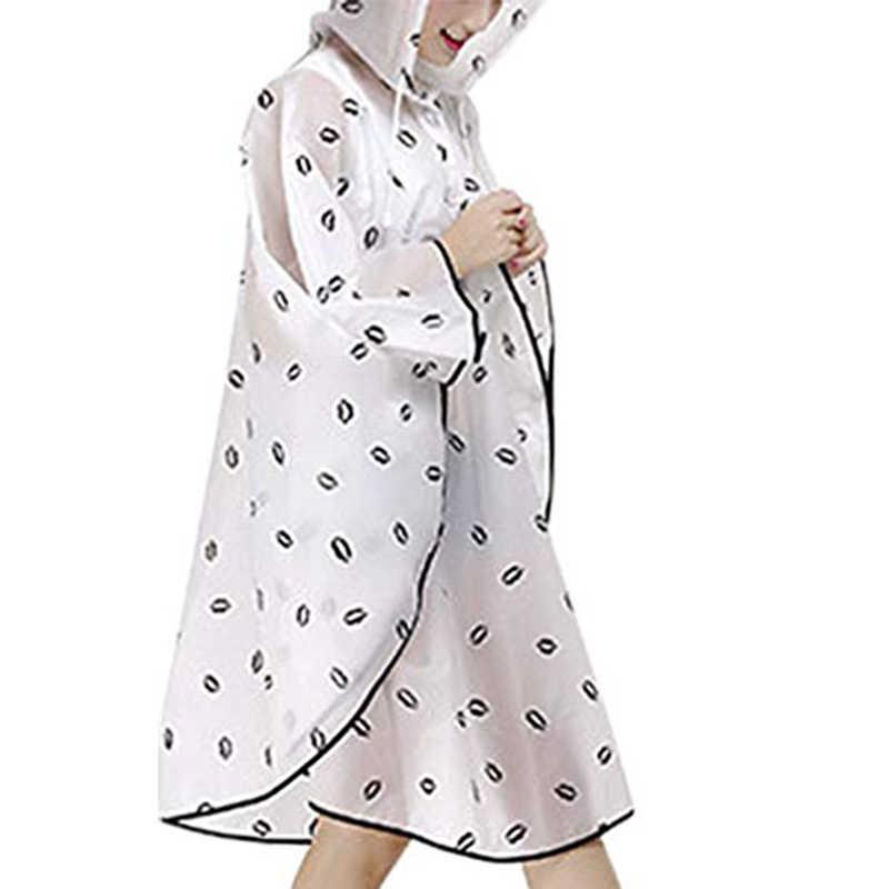 Berkerudung Jas Hujan Wanita Reusable Hujan Hujan Hujan Mantel Jaket Packable Panjang Jas Hujan Putih
