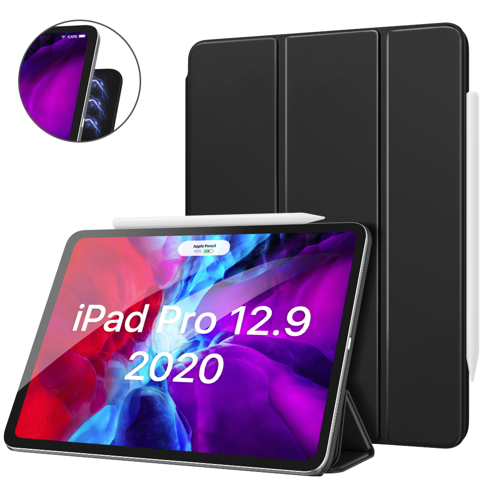 Black Black Smart Folio Case For iPad Pro 12 9 2020 4th Generation Support Magnetically Attach Charge Pair
