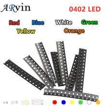 100pcs/lot 6 Colors SMD 0402 Led DIY kit Ultra Bright Red/Green/Blue/Yellow/White/Orange Water Clear LED Light Diode set
