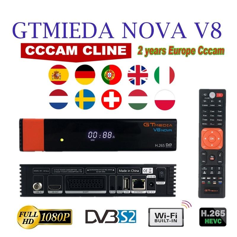 Receptor de Satélite Gtmedia Nova Receptor hd Completo 1080 H.265 Hevc 2 Ano Europa Espanha c Linhas Linha Cccam Wi-fi Embutido v8 Dvb-s2