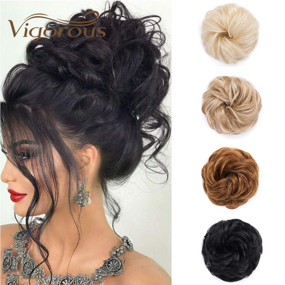 Vigorous Curly Black Bun Elastic Ring Bun Synthetic Fiber Heat Resistant Hairpiece Party Hair Wedding Hair For Female