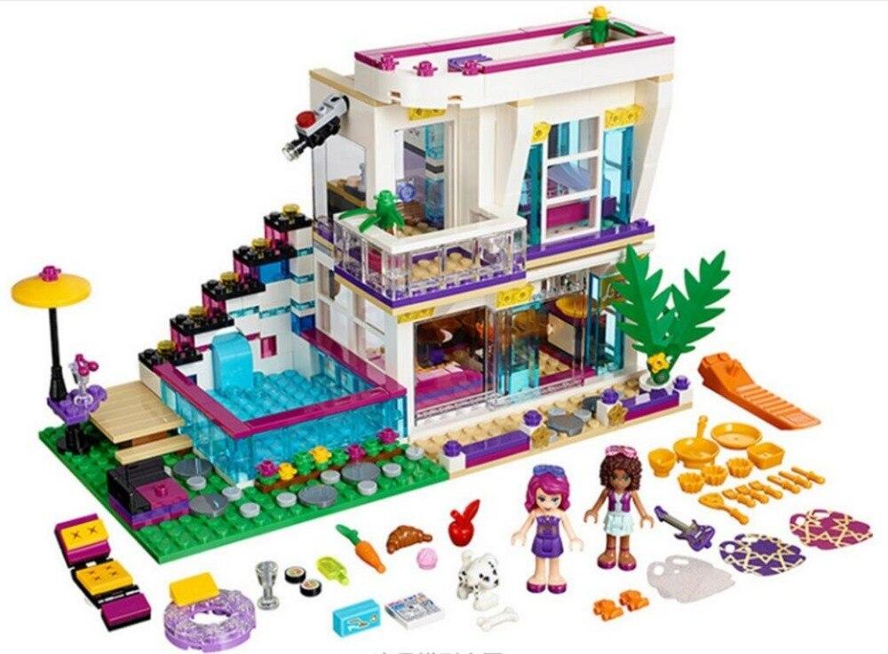 619pcs Friends Series Livi's Pop Star House Building Blocks Andrea Mini-doll Figures Toy Compatible With Legoinglys Friends