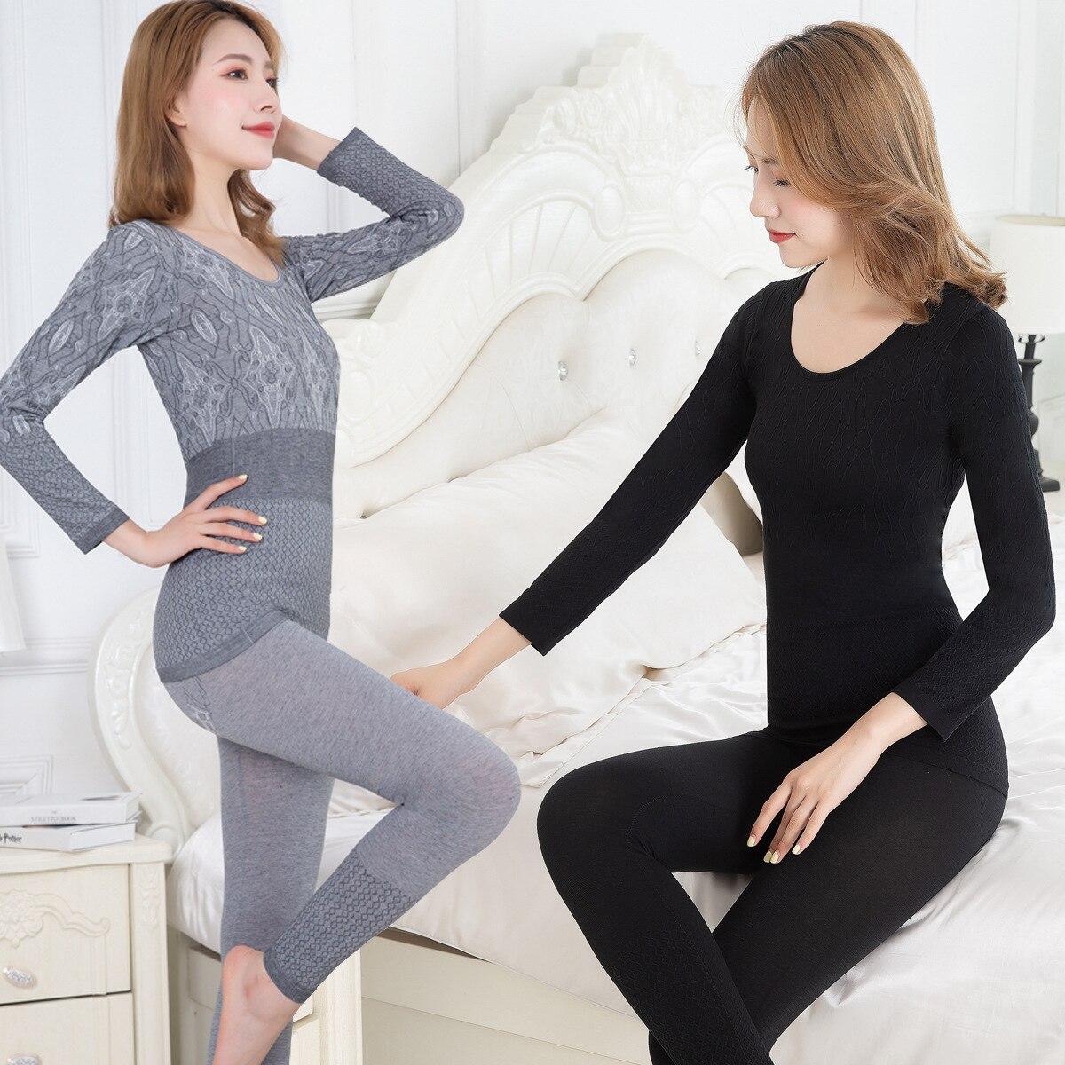 New Autumn Winter Seamless Thermal Underwear Ladies Suit Thin Section Bottoming Slim Cotton Sweater Thermal Underwear Women