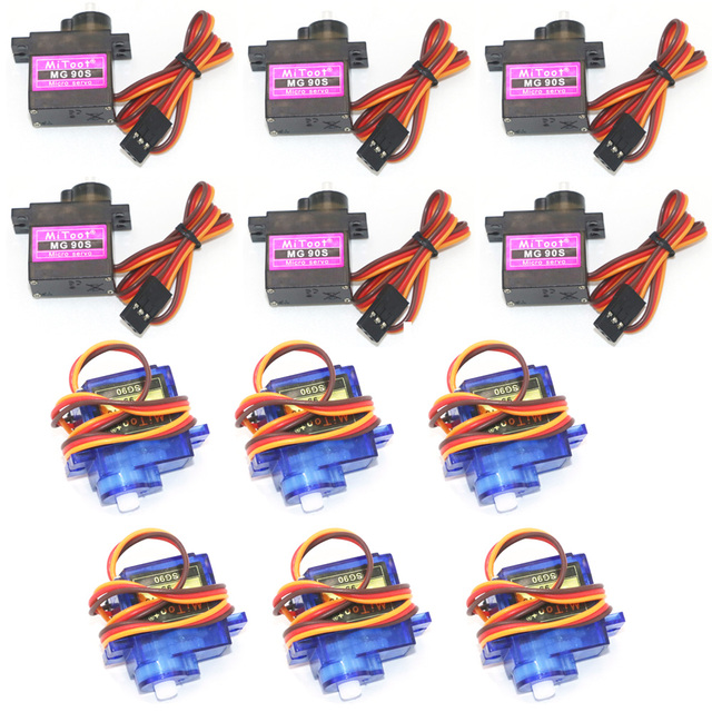 4/5/10/20 pcs/lot MG90S Metal Gear Digital 9g Servo SG90 For Rc Helicopter Plane Boat Car MG90 9G Trex 450 RC Robot Helicopter