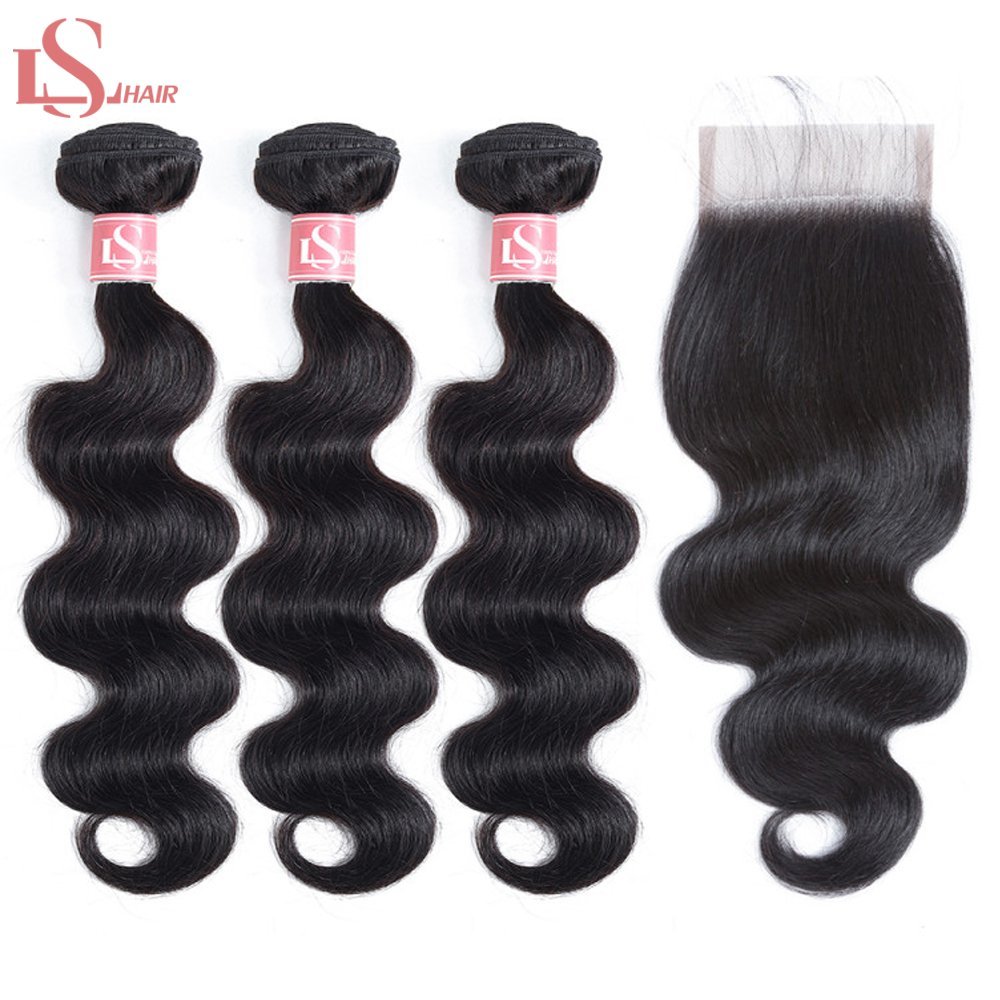 LS Hair Body Wave Bundles With Closure 100% Human Brazilian Deal 3 Remy