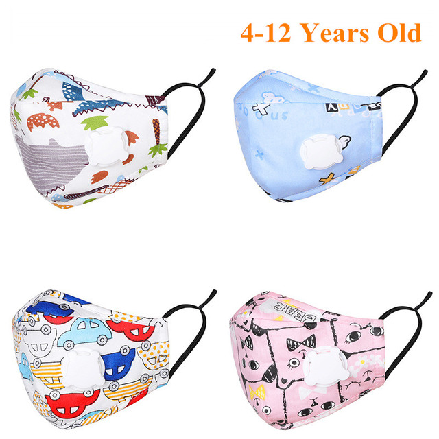 Kids Children Cotton Face Mouth Mask Anti-Dust Cartoon PM2.5 Protective Valve Respirator Reusable Anti Flu Masks With 1 Filter 1
