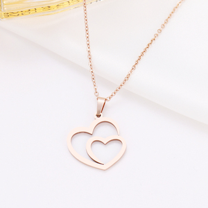 DOTIFI Stainless Steel Necklace For Women Man Hollow Double Heart Choker Pendant Rose Gold Necklace Engagement Jewelry(China)
