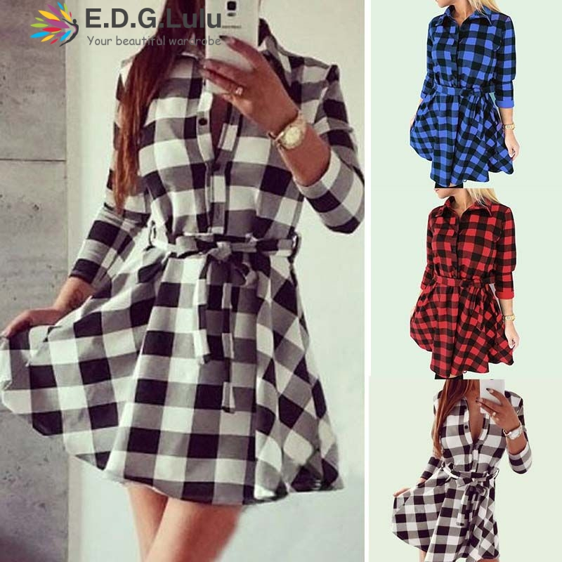 EDGLuLu 2019 autumn winter women casual vestidos with belt mini <font><b>dress</b></font> plaid print shirt <font><b>dress</b></font> high waist casual slim <font><b>dress</b></font> image