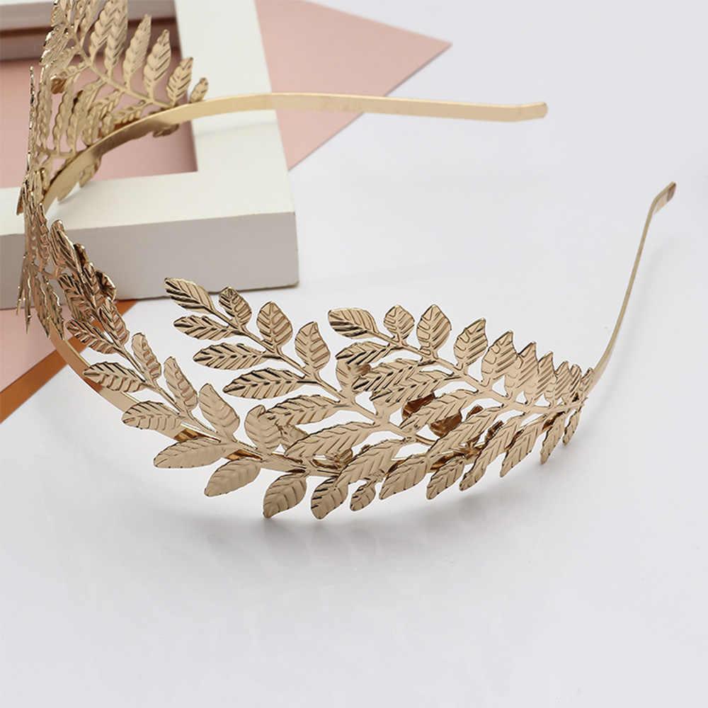 Prosty złoty kształt liścia wianek dla panny młodej głowa kawałek Tiara biżuteria do włosów kobiety dziewczyna opaska do włosów chluba ślubna akcesoria dla panny młodej