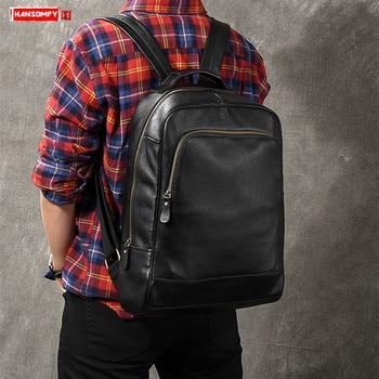 New Genuine Leather men's backpack fashion male laptop shoulder bag travel business bags large capacity black leather backpacks