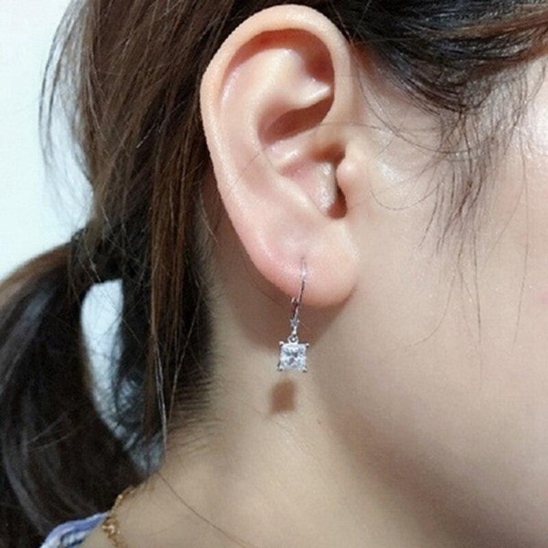 Princess Cut Moissanite White  Stud Earrings Women Girl Jewelry Gifts