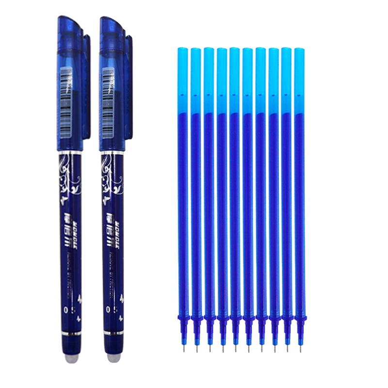 12pcs/Set Erasable Washable Handle Erasable Pen Refill 0.5mm Blue Black Ink Magic Gel Pen Set School Office Supplies Stationery