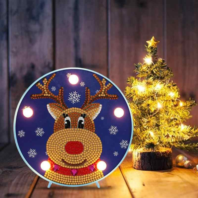 DIY LED Special Shaped Diamond Painting Delicate Christmas Snowman Elk Ornament  Embroidery Modeling Lamp Table Decor